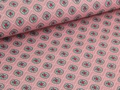 Baumwolle - Blumen - Punkte - rosa - grau - weiß