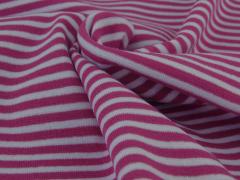 Bündchen Feinripp - Ringel - pink - weiß