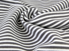 Bündchen Feinripp - Ringel - grau - weiß