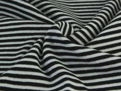 Bündchen Feinripp - Ringel - schwarz - weiß