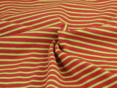 Jersey Single - Streifen - rot - hellgrün