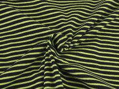 Jersey Single - Streifen - schwarz - hellgrün