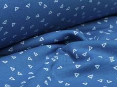 Bündchen Feinripp - Dreiecke - blau