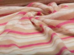 BIO Strick Leinen - Albstoffe  rosa -beige-weiß