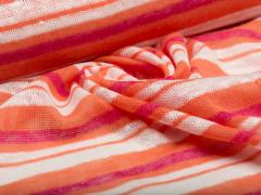 BIO Strick Leinen - Albstoffe  orange - weiß- pink