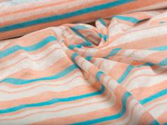 BIO Strick Leinen - Albstoffe  orange -blau-weiß