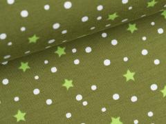 Jersey Single - Sterne - Punkte - klein - oliv