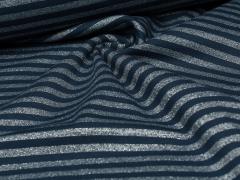 Bündchen Feinripp - Ringel - Glitzer - dunkelblau