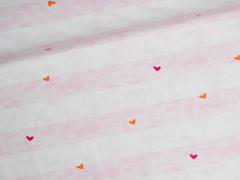 Jersey Single - Blockstreifen - Herzen - rosa - weiß