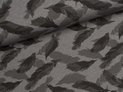Jersey Single - Federn - grau meliert