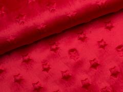 Minky Fleece - Sterne - rot
