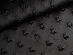 Minky Fleece - Sterne - schwarz