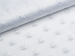 Minky Fleece - Sterne - weiß