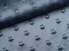 Minky Fleece - Sterne - rauchblau