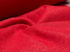 Bündchen Feinripp - Glitzer - rot