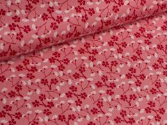 Popeline - Blumen - Tante Ema - rot - weiß