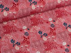 Popeline - Elefanten - Blumen - Tante Ema - rot