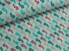 Jersey Single - Blumen - Reihe - klein - Tante Ema - mint
