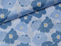 Reststück 0,95m - Baumwoll Satin - Blumen - Denim Days - Milliblu's - weiß - blau