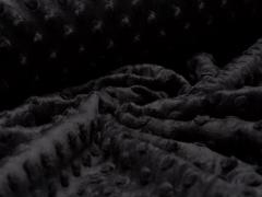 Minky Fleece - Punkte - schwarz