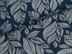 Jersey Jacquard - Blätter - Leaves - dunkelblau - grau