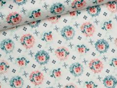 Wachstuch - Blumen - Tante Ema - weiß - grün