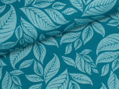 Jersey Jacquard - Blätter - Leaves - petrol - mint