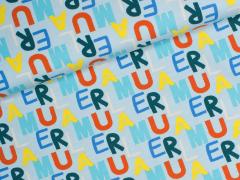 Jersey Single - Buchstaben - Kinderträume - hellblau