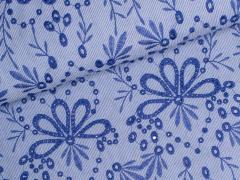Baumwoll - Stick - Blumen - Bohemian Blu - Milliblu's - blau