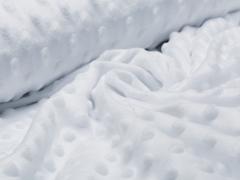 Minky Fleece - Punkte - weiß