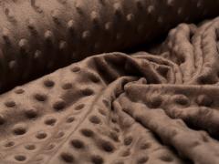 Minky Fleece - Punkte - braun