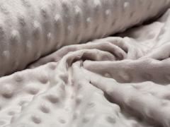 Minky Fleece - Punkte - silber grau