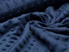 Minky Fleece - Punkte - navy blau