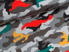 Jersey Single - Camouflage - grau - rot