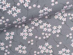 Modal Jersey - Flowers - Blumen - grau