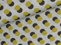 Jersey Viskose - Circles - Punkte - grau meliert - gelb - schwarz