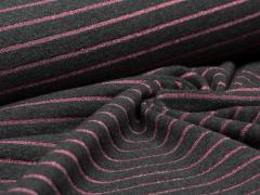 Jersey Single - Streifen - Glitzer - anthrazit - rosa