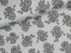 Jersey Viskose - Romantic Rose - Rosen - grau meliert - schwarz