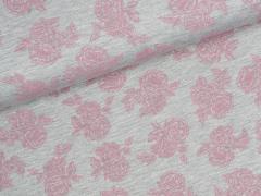 Jersey Viskose - Romantic Rose - Rosen - grau meliert - rosa