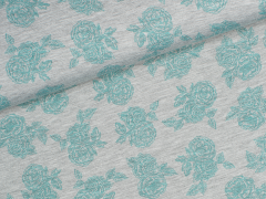 Jersey Viskose - Romantic Rose - Rosen - grau meliert - grün