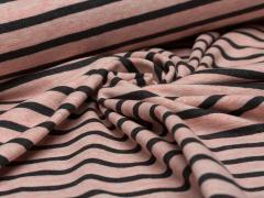 Jersey Single - Streifen - rosa - anthrazit meliert