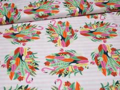 Jersey Single - Papaya Club - Papageien - Hilco - rosa - weiß - pink - grün