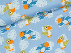 Jersey Single - Cute Parrot - in the Jungle - Jatiju - Hilco - blau