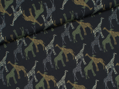 Popeline - Giraffes Nero - Giraffen - Hilco - schwarz