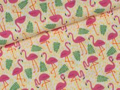 Popeline - Tropic Flamingo - Hilco - gelb - pink