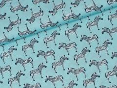 Popeline - Tropic Zebra - Hilco - hellblau
