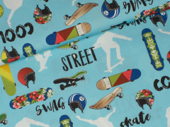 Popeline - Cool Guys - Skateboard - Hilco - hellblau