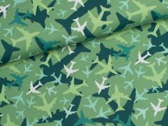 Reststück 0,30m - Jersey Single - Flugzeuge - grün