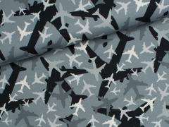 Jersey Single - Flugzeuge - grau