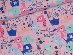 Baumwolle - Katzen - rosa